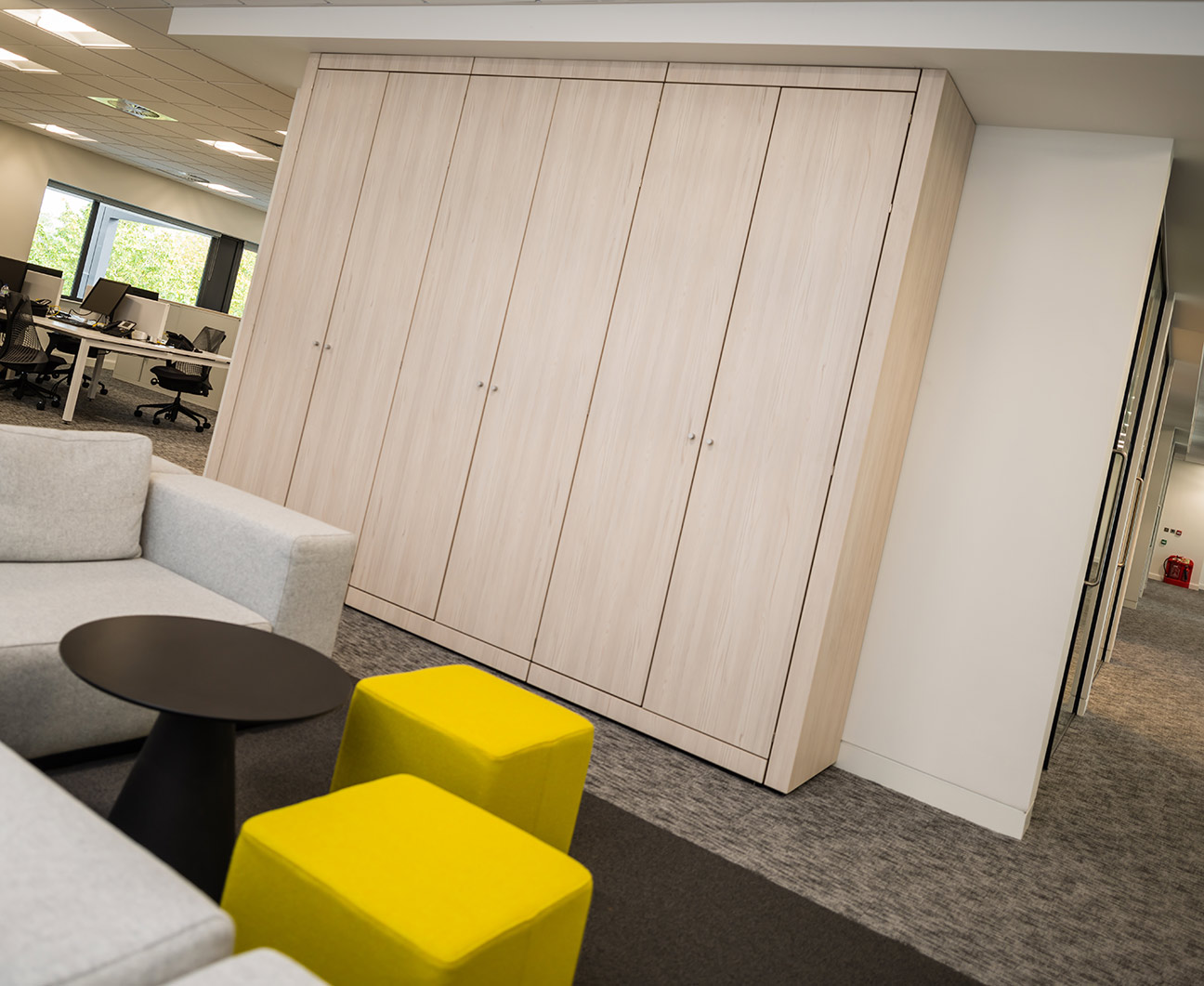 Wall backing wall storage cabinets with Oak doors