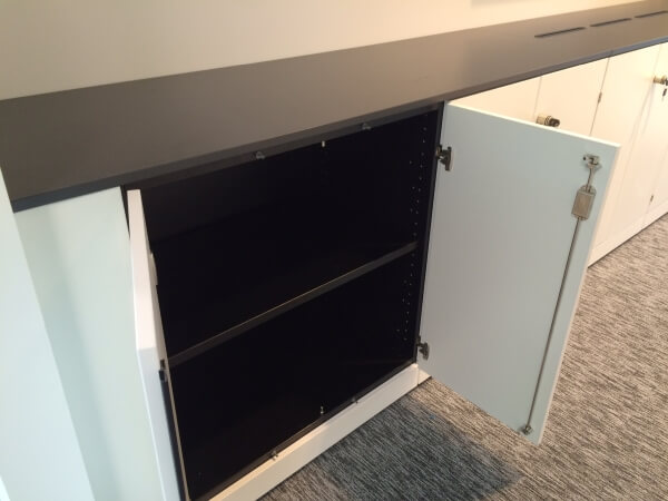 Low level storage cabinets with recycling units