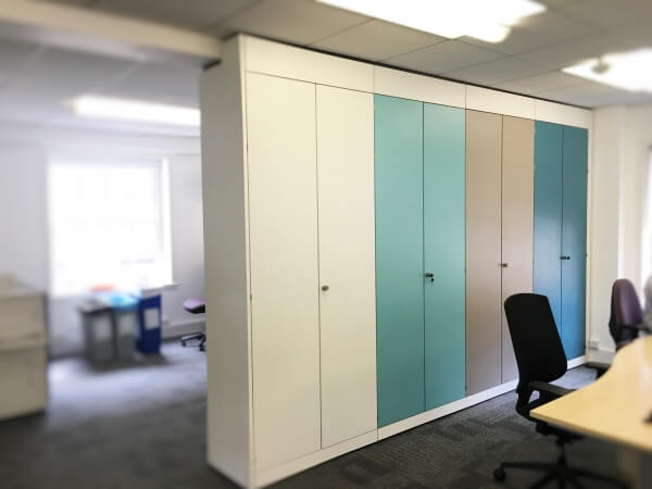 Space divider storage with various coloured doors