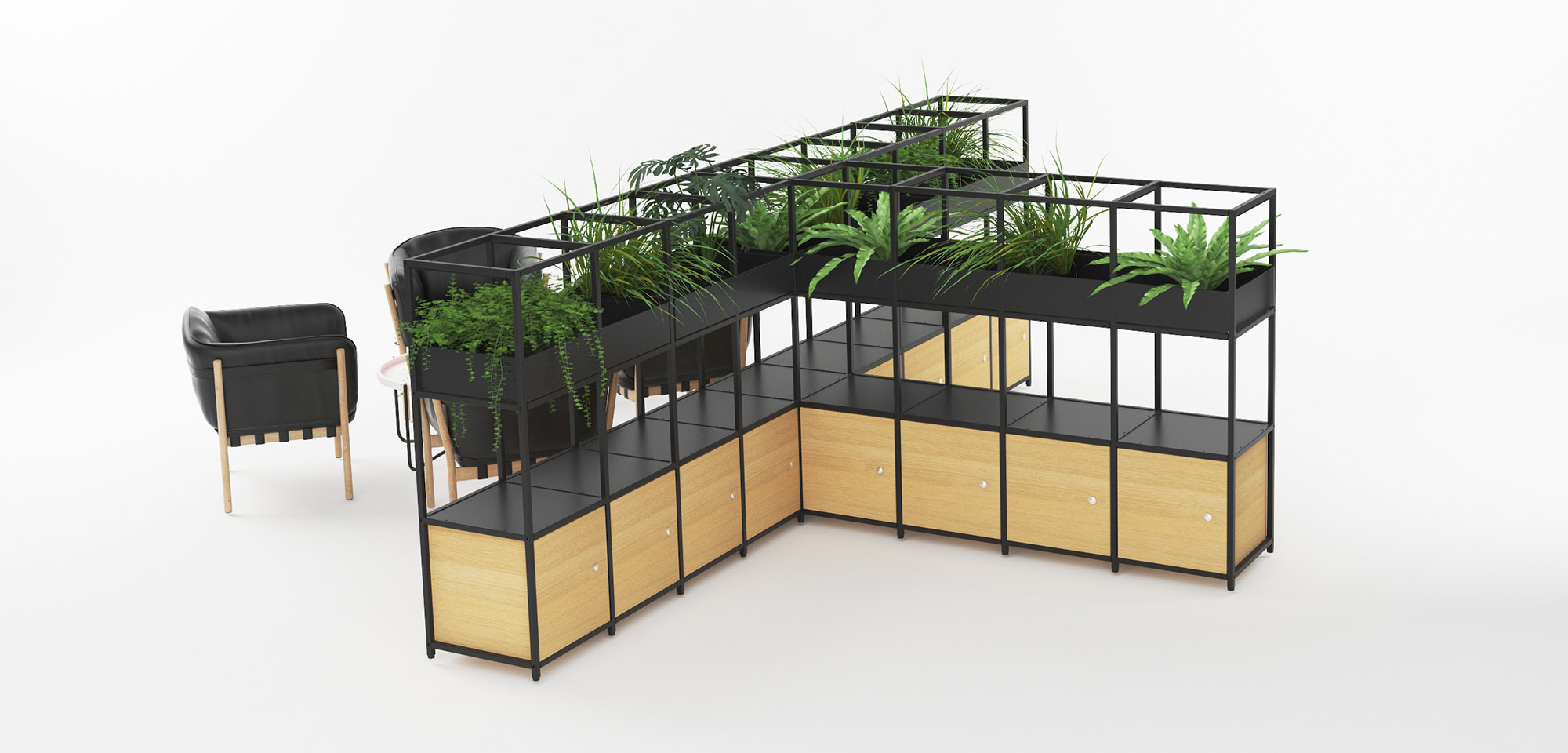 TIER METAL STORAGE WITH PLANTERS