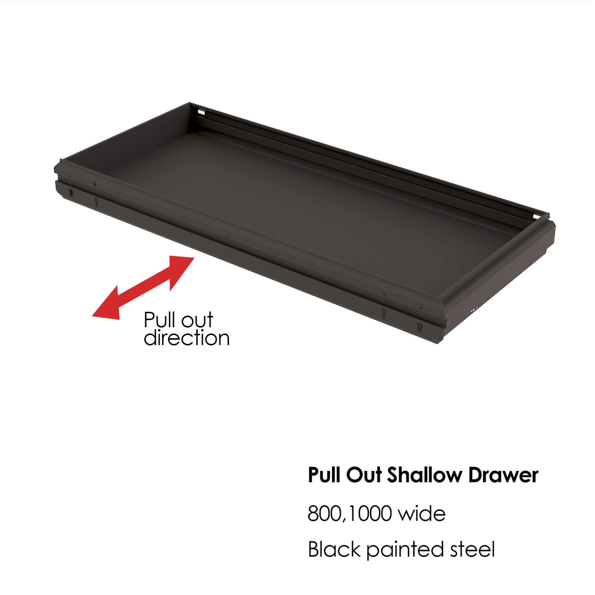 pull out shallow drawer